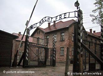 The Arbeit macht frei sign at the gate to Auschwitz