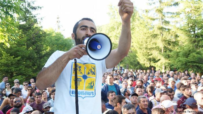 Environmentalist Aharon Arsenyan speaks at an anti-mining rally, Armenia