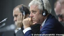 Speaker of the House of Commons John Bercow attends a meeting during the G7 parliaments summit, in Brest, western France, Friday, Sept. 6, 2019. The leaders of parliament of the Group of Seven leading democracies are meeting in France to discussing protecting the world's oceans and other international cooperation. The G-7 includes the United States, France, Britain, Germany, Japan, Canada and Italy. (AP Photo/David Vincent, Pool)  