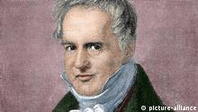 Alexander von Humboldt (1769-1859). German naturalist and geographer. Engraving of A. Neumann in Our Century, 1883. Colored. |