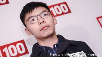 Deutschland Aktivist Joshua Wong kommt zur Bild100-Party (picture-alliance/dpa/M. Kappeler)
