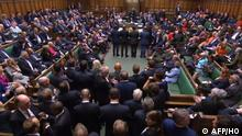 A video grab from footage broadcast by the UK Parliament's Parliamentary Recording Unit (PRU) shows the tellers (L- R) Liberal Democrat MP Tom Brake, Plaid Cymru MP Ben Lake, Conservative MP Iain Stewart and Conservative MP Stuart Andrew, lining up to report the results on a vote on a motion for an early parliamentary general election in the House of Commons in London on September 9, 2019, - British MPs rejected a second attempt by Prime Minister Boris Johnson on September 10 to call an early election to break the Brexit deadlock, in a final show of defiance before he controversially suspends parliament. (Photo by HO / PRU / AFP) / RESTRICTED TO EDITORIAL USE - MANDATORY CREDIT AFP PHOTO / PRU - NO USE FOR ENTERTAINMENT, SATIRICAL, MARKETING OR ADVERTISING CAMPAIGNS - EDITORS NOTE THE IMAGE HAS BEEN DIGITALLY ALTERED AT SOURCE TO OBSCURE VISIBLE DOCUMENTS