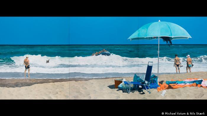 """Michael Kvium, """"Beach of Plenty"""", 2017 (Michael Kvium & Nils Stærk )"""