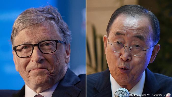 Microsoft co-founder Bill Gates and Ban Ki-moon who is speaking at the launch of a report on climate change by the Global Commission on Adaptation