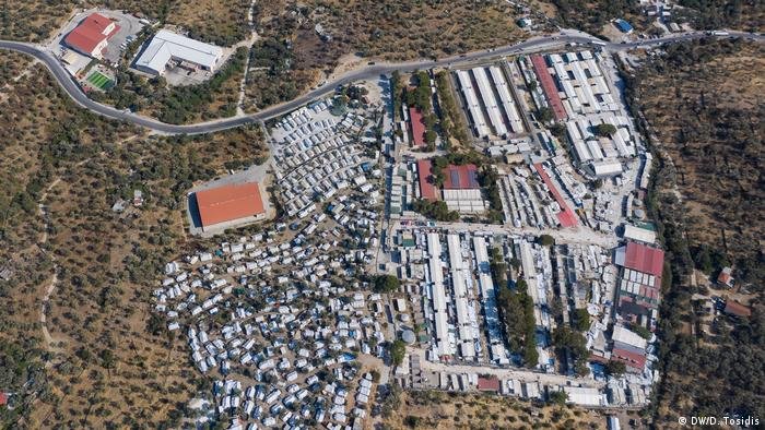An aerial photo of the Moria refugee camp on Lesbos (DW/D. Tosidis)