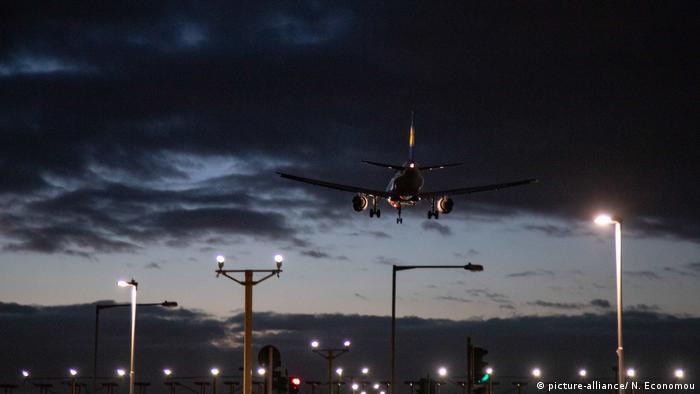View of a passenger plane landing on London Heathrow International Airport