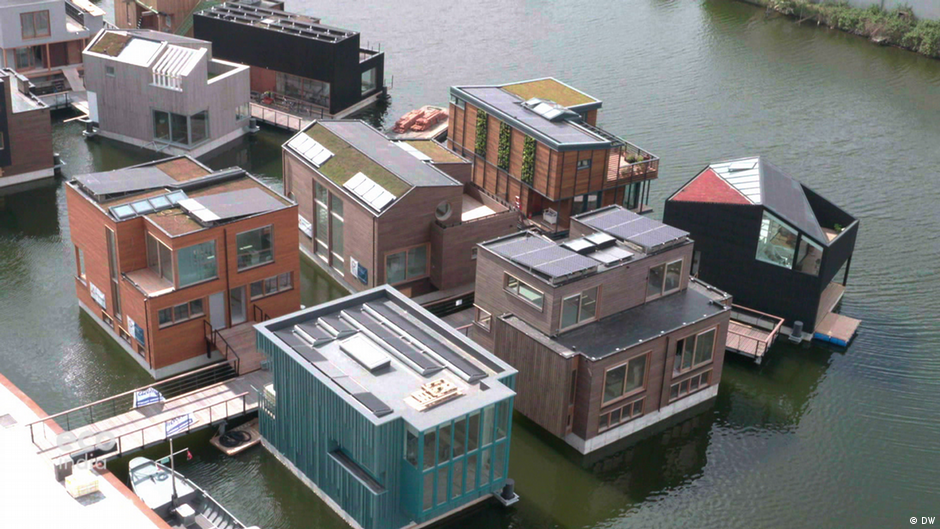 Floating homes in Amsterdam