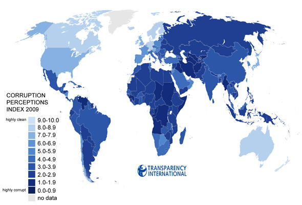 A graphic showing the geographic dispersion of corruption