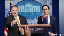 US Secretary of State Mike Pompeo and Treasury Secretary Steven Mnuchin brief the media on September 10, 2019, at the White House in Washington, DC. - Pompeo said Tuesday that he had multiple policy disagreements with John Bolton, following the surprise ouster of Donald Trump's national security chief. (Photo by MANDEL NGAN / AFP)