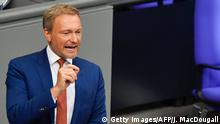 11.09.2019 Christian Lindner, chairman of the federal free democratic FDP party, speaks during a debate on the federal budget at the Bundestag, the lower house of Parliament, on September 11, 2019 in Berlin. (Photo by John MACDOUGALL / AFP) (Photo credit should read JOHN MACDOUGALL/AFP/Getty Images)