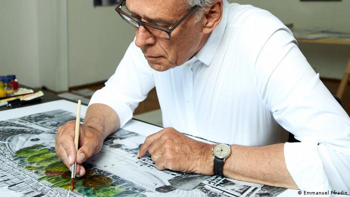 Klaus Littmann working on Max Peintner's drawing (Emmanuel Ffradin)