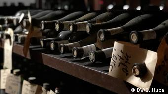 Bottles of 100-year-old wine stored in a family celler in Georgia
