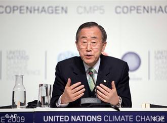 UN Secretary-General Ban Ki Moon at a press conference in Copenhagen