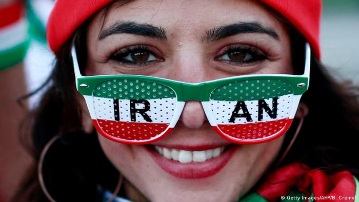 An Iranian supporter is seen outside the stadium ahead of the Russia 2018 World Cup Group B football match between Iran and Spain at the Kazan Arena in Kazan on June 20, 2018. (Photo by Benjamin Cremel / AFP)
