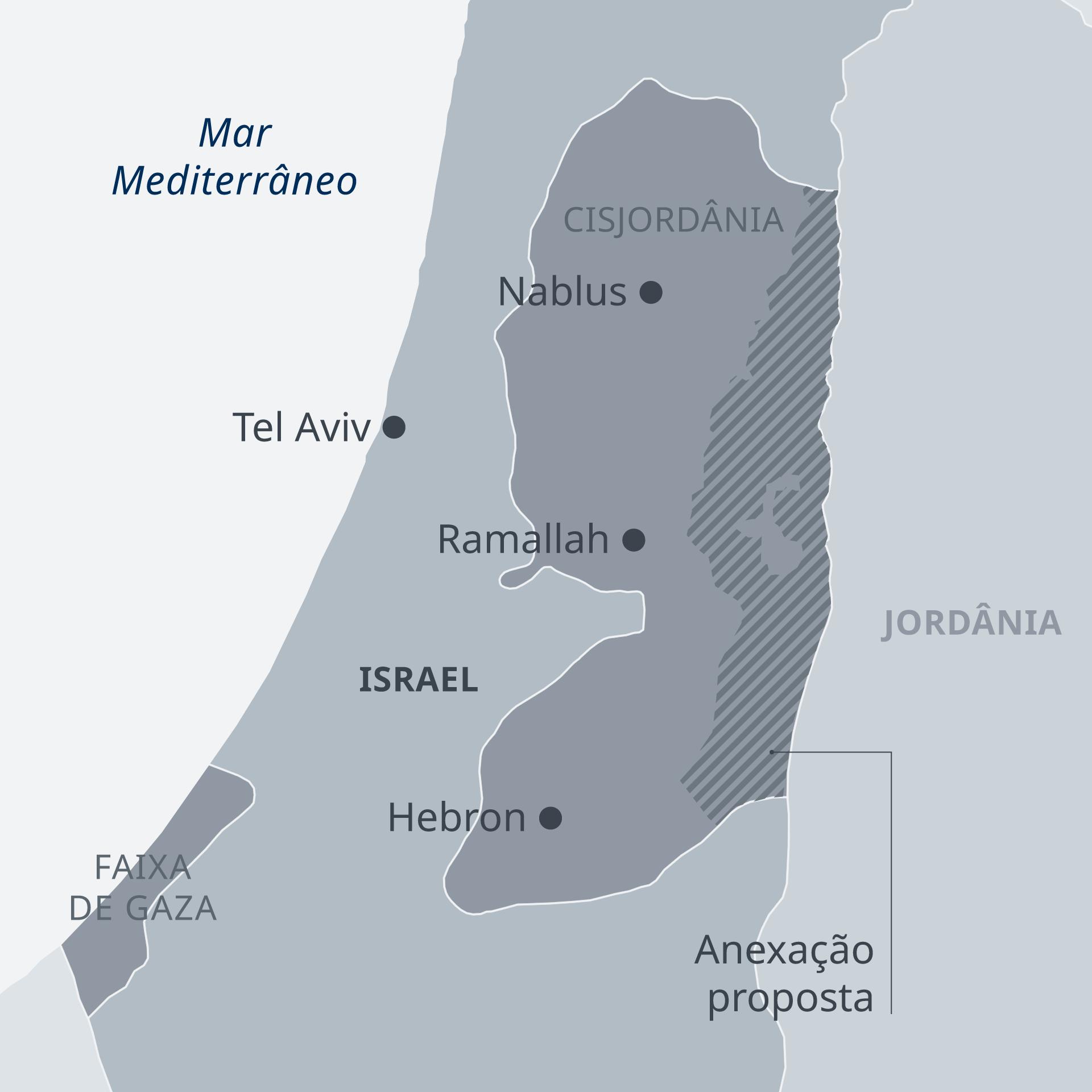Mapa com a anexação de parte da Cisjordânia, proposta pelo primeiro-ministro de Israel