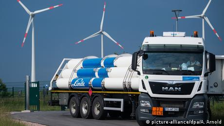 A truck carrying casks of hydrogen produced with wind energy at the eneregy park in Mainz, Germany