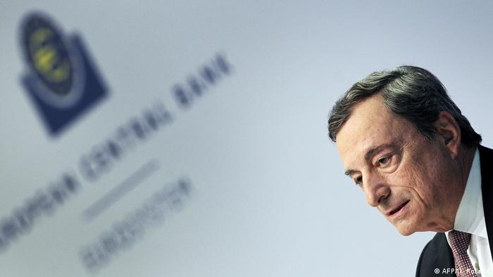 In this file photo taken on July 25, 2019 Mario Draghi, President of the European Central Bank, speaks during a press conference on Eurozone monetary policy in Frankfurt am Main, western Germany