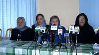 Afghan women's advocates at a press conference
