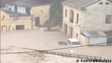 Flooded roads are seen in Ontinyent, Spain September 12, 2019. in this still image taken from social media video from Twitter @BATALLETA via REUTERS ATTENTION EDITORS - THIS IMAGE HAS BEEN SUPPLIED BY A THIRD PARTY. MANDATORY CREDIT.