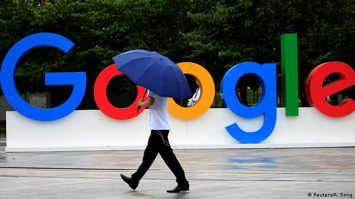 A Google sign is seen during the WAIC (World Artificial Intelligence Conference) in Shanghai, China