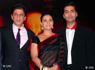 Shah Rukh Khan and his co-star Kajol with the director of My Name is Khan Karan Johar