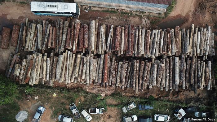 Illegally cut logs in Amazon rainforest Brazil