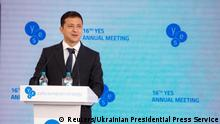 Ukrainian President Volodymyr Zelenskiy delivers a speech during the Yalta European Strategy (YES) annual meeting in Kiev, Ukraine September 13, 2019. Ukrainian Presidential Press Service/Handout via REUTERS ATTENTION EDITORS - THIS IMAGE WAS PROVIDED BY A THIRD PARTY.