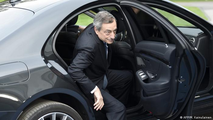 The President of the European Central Bank Mario Draghi arrives to attend the informal meeting of ministers for economic and financial affairs (ecofin) and Eurogroup in Helsinki, Finland, on September 13, 2019.