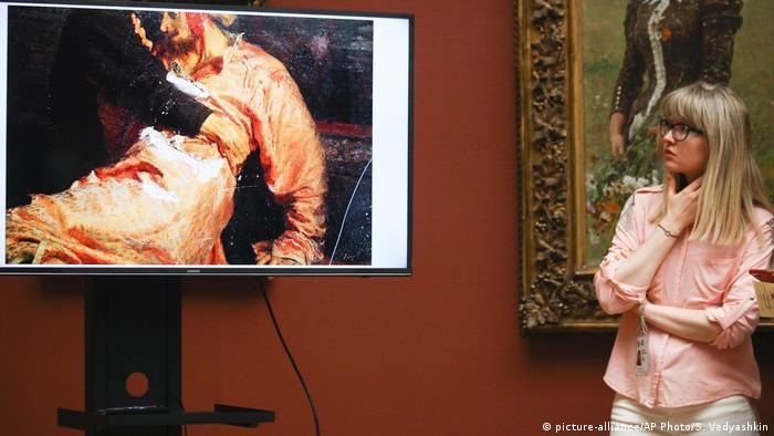 Russland Moskau Anschlag auf Gemälde von Ilya Repin (picture-alliance/AP Photo/S. Vedyashkin)