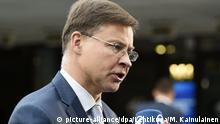 Helsinki | Treffen der Euro-Finanzminister - Valdis Dombrovskis aus Lettland