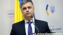 Ukraine Kiew | Außenminister der Ukraine Vadym Prystaiko bei Pressekonferenz