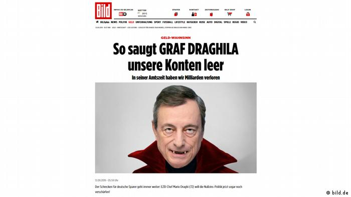 Screenshot from the bild.de website of a story about Mario Draghi, featuring a photoshopped image of him supposed to resemble a vampire.
