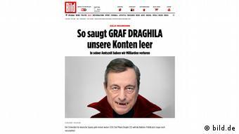 Στο πρόσωπο του Ντράγκι η BILD έβλεπε τον Δράκουλα που απομυζά τους τραπεζικούς λογαριασμούς των αποταμιευτών