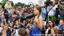 Swedish environment activist Greta Thunberg speaks at a climate protest outside the White House in Washington, DC on September 13, 2019. - Thunberg, 16, has spurred teenagers and students around the world to strike from school every Friday under the rallying cry Fridays for future to call on adults to act now to save the planet. (Photo by Nicholas Kamm / AFP) (Photo credit should read NICHOLAS KAMM/AFP/Getty Images)