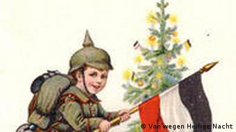 A card shows a young WWI soldier in front of a Christmas tree