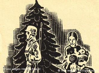 Nazi-era christmas card woodcut, depicting a soldier and a mother with children