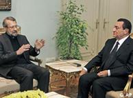علی لاریجانی (چپ) در دیدار با حسنی مبارک
