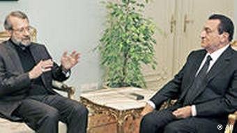 دیدار لاریجانی، رییس مجلس ایران با حسنی مبارک