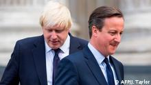 (FILES) In this file photo taken on July 07, 2015 British Prime Minister David Cameron (R) and London Mayor Boris Johnson leave St Paul's Cathedral in central London after attending a memorial service in memory of the 52 victims of the 7/7 London attacks. - Former British prime minister David Cameron said Friday he had no regrets about launching the Brexit referendum but accused current PM Boris Johnson of behaving appallingly during the pre-vote campaigning. (Photo by JACK TAYLOR / AFP)