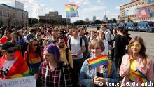 Participants attend the KharkivPride march in support of the LGBT community in Kharkiv, Ukraine September 15, 2019. REUTERS/Gleb Garanich