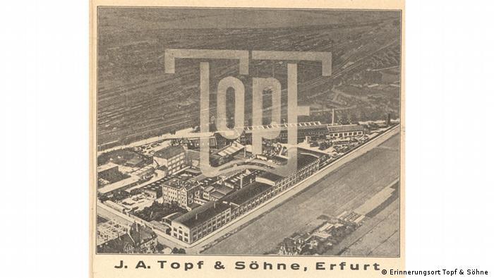 Plakat reklamowy z widokiem fabryki. Przewodnik po Erfurcie 1935 r.