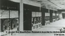 Halle mit Öfen im Krematorium II in Birkenau