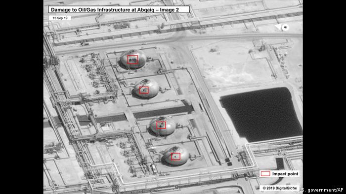 A satellite image released by the US government showing what it claims to be impact sites at a Saudi oil refinery following an alleged drone attack