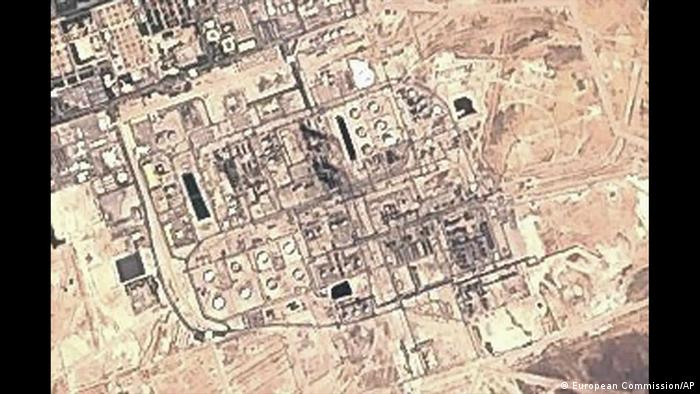 A satellite image released by the European Commission shows a charred area in the center of the Abqaiq oil facility