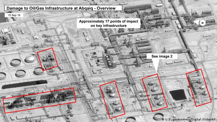 This image provided on Sunday, Sept. 15, 2019, by the U.S. government and DigitalGlobe and annotated by the source, shows damage to the infrastructure at Saudi Aramco's Abaqaiq oil processing facility in Buqyaq, Saudi Arabia.