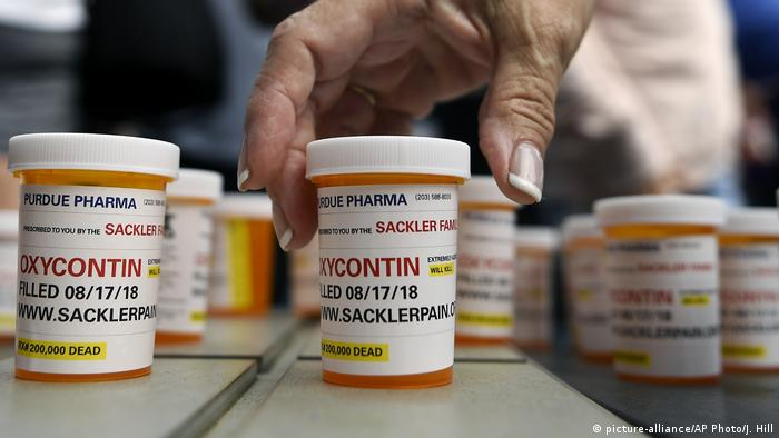 Pills containers of the addictive pain relief medicine OxyContin