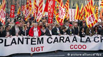 Demonstrators against austerity measures in Spain