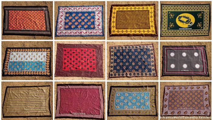 Various kanga designs (AramcoWorld/Samantha Reinders)