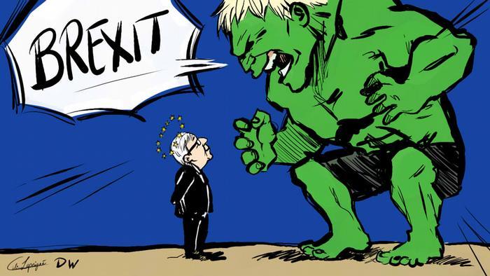 Boris Hulk Johnson e o líder europeu Jean-Claude Juncker. Johnson comparou-se recentemente ao super-herói: Quanto mais zangado o Hulk fica, mais forte fica