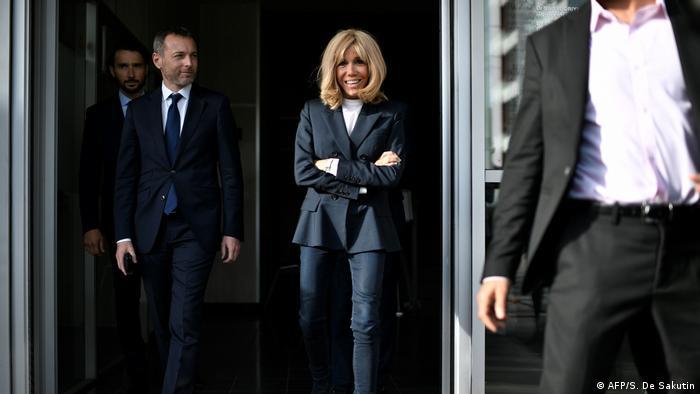 Brigitte Macron leaves school in Clichy-sous-Bois